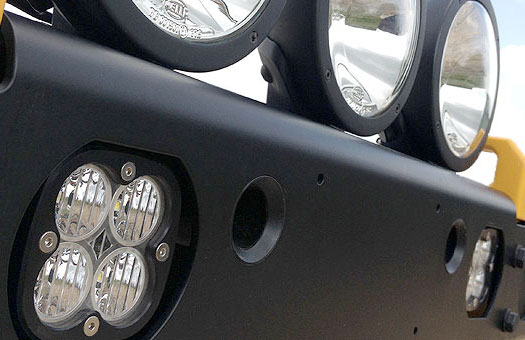 jeep jk aluminum bumper, auxiliary lighting options